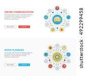 set of flat line business... | Shutterstock .eps vector #492299458