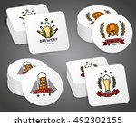 beverage coaster with beer... | Shutterstock .eps vector #492302155