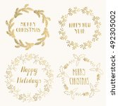 vintage christmas card.... | Shutterstock .eps vector #492305002