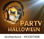 3d illustration of disco ball... | Shutterstock . vector #492307408