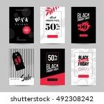 black friday sale cards. set of ... | Shutterstock .eps vector #492308242