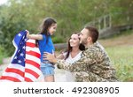 Us Army Soldier With Family An...