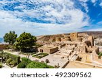 Small photo of View of the Alcazaba in Almeria (Almeria Castle) on a beautiful day, horizontal, Spain