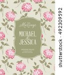 marriage invitation card with... | Shutterstock .eps vector #492309592