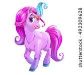 beautiful cartoon standing... | Shutterstock .eps vector #492309628