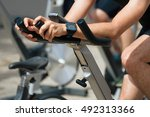 active people working out on... | Shutterstock . vector #492313366