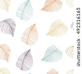 seamless pattern of palm leaves.... | Shutterstock . vector #492316165