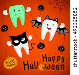 teeth character with pumpkin in ... | Shutterstock .eps vector #492325852