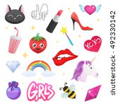 fashion badges with cat  la ... | Shutterstock .eps vector #492330142