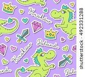 vector cute cartoon dragon ... | Shutterstock .eps vector #492331288