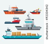 boats and ships | Shutterstock .eps vector #492334342