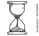 sand clock in doodle sketch...   Shutterstock .eps vector #492340645