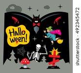 halloween graveyard vector... | Shutterstock .eps vector #492345472