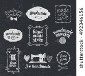 vector set of hand drawn doodle ... | Shutterstock .eps vector #492346156