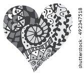 heart in zentangle style.... | Shutterstock .eps vector #492347518