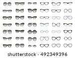 kinds of sunglasses. many types ... | Shutterstock .eps vector #492349396