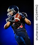 Small photo of american football player man isolated