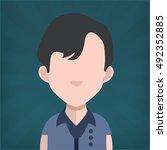 male avatar in dark blue shine... | Shutterstock .eps vector #492352885