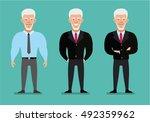 an elderly man in a suit in... | Shutterstock .eps vector #492359962