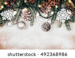 snowy christmas background with ... | Shutterstock . vector #492368986
