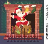 fireplace and santa claus. new... | Shutterstock .eps vector #492373378