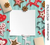 abstract christmas background ... | Shutterstock .eps vector #492373762