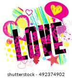 love . typography graphic print ... | Shutterstock .eps vector #492374902