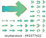 arrow vector 3d button icon set ... | Shutterstock .eps vector #492377422