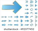 arrow vector 3d button icon set ... | Shutterstock .eps vector #492377452