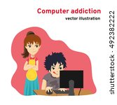 computer addiction. dependence... | Shutterstock .eps vector #492382222