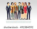 business team vector concept... | Shutterstock .eps vector #492384592