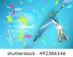 grand opening blue invitation... | Shutterstock .eps vector #492386146