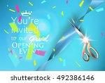 grand opening blue invitation... | Shutterstock .eps vector #492386146