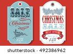 vector christmas sale vintage... | Shutterstock .eps vector #492386962