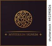 gold round crest logo.... | Shutterstock .eps vector #492390826