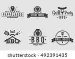 bbq logos white and black   Shutterstock .eps vector #492391435