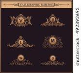 luxury logos crest monogram.... | Shutterstock .eps vector #492392692