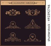 luxury crest logos monogram.... | Shutterstock .eps vector #492392746