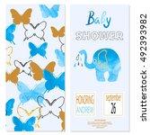 baby shower boy. vector... | Shutterstock .eps vector #492393982