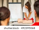 cpr class with instructors... | Shutterstock . vector #492395068
