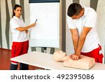 cpr class with instructors... | Shutterstock . vector #492395086