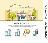 fresh natural dairy products.... | Shutterstock .eps vector #492395422