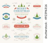 christmas labels and badges... | Shutterstock .eps vector #492396316