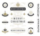christmas labels and badges... | Shutterstock .eps vector #492396346