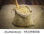 soy beans in sack | Shutterstock . vector #492398008