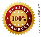quality badge concept 3d... | Shutterstock . vector #492401428