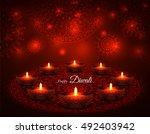 elegant illuminated oil lit... | Shutterstock .eps vector #492403942