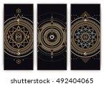 sacred symbols web banner set   ... | Shutterstock .eps vector #492404065
