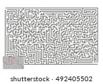 large vector horizontal maze... | Shutterstock .eps vector #492405502