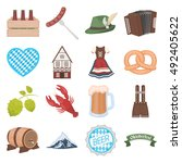 oktoberfest set icons in... | Shutterstock .eps vector #492405622
